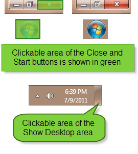 Clickable area of the Close and Start buttons is shown in this graphic.